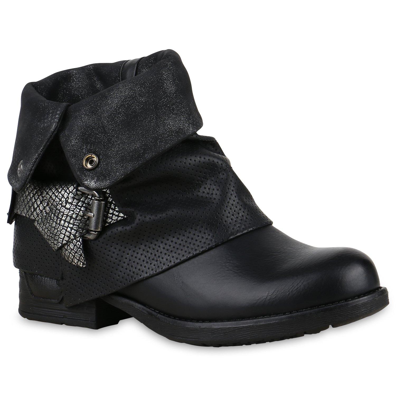 Stiefelparadies Damen Stiefeletten Biker Boots mit Blockabsatz Schnallen Nieten Flandell Schwarz Autol