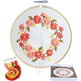 Caydo Barberton Daizy Embroidery Starter Kit Cross Stitch Kit Including Embroidery Cloth with Printed Pattern, Instructions for Beginner