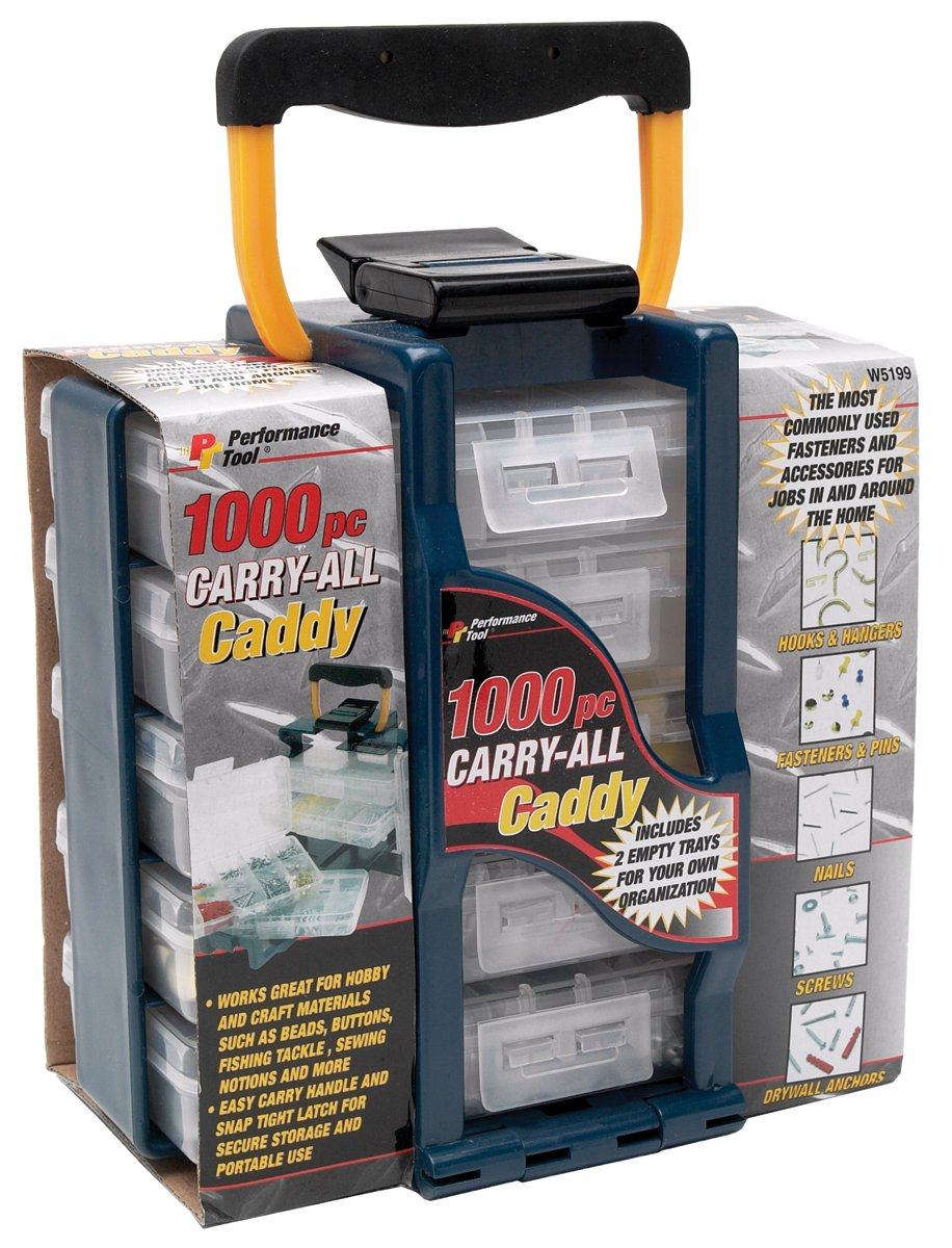 Performance Tool W5199 Organizer Tote with 1,000pc Home Fastener Assortments