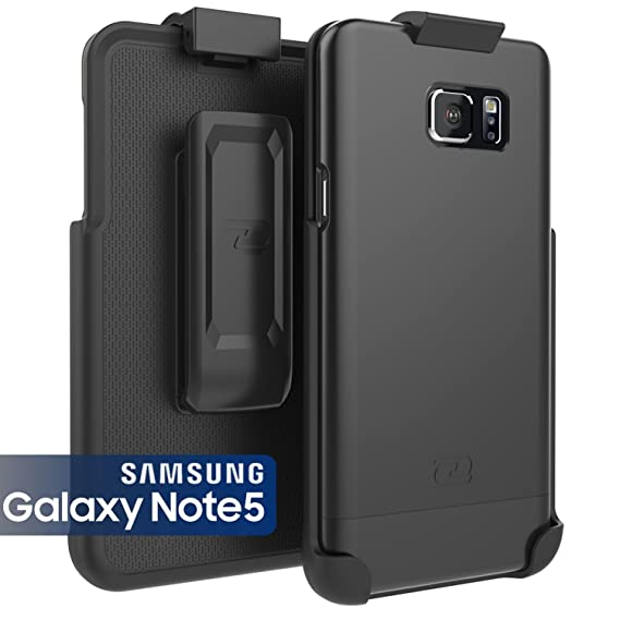 cheaper 05f92 22ed6 Encased Samsung Galaxy NOTE 5 Case & Belt Clip Holster Ultra-Thin  (SlimShield Series) Hybrid Shell (Smooth Black)