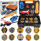 JIMI Bey Battling Top Burst Gyro Toy Set Combat Battling Game 10 Spinning Tops 3 Launchers with Portable Storage Box Gift for