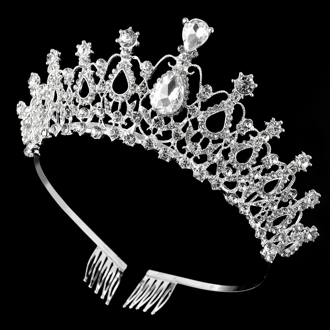 SUMERSHA Wedding Tiara Crown with Comb Bridal Pageant Rhinestone Crystal Prom Gorgeous Headband Hair Accessories For Party Birthday Christmas