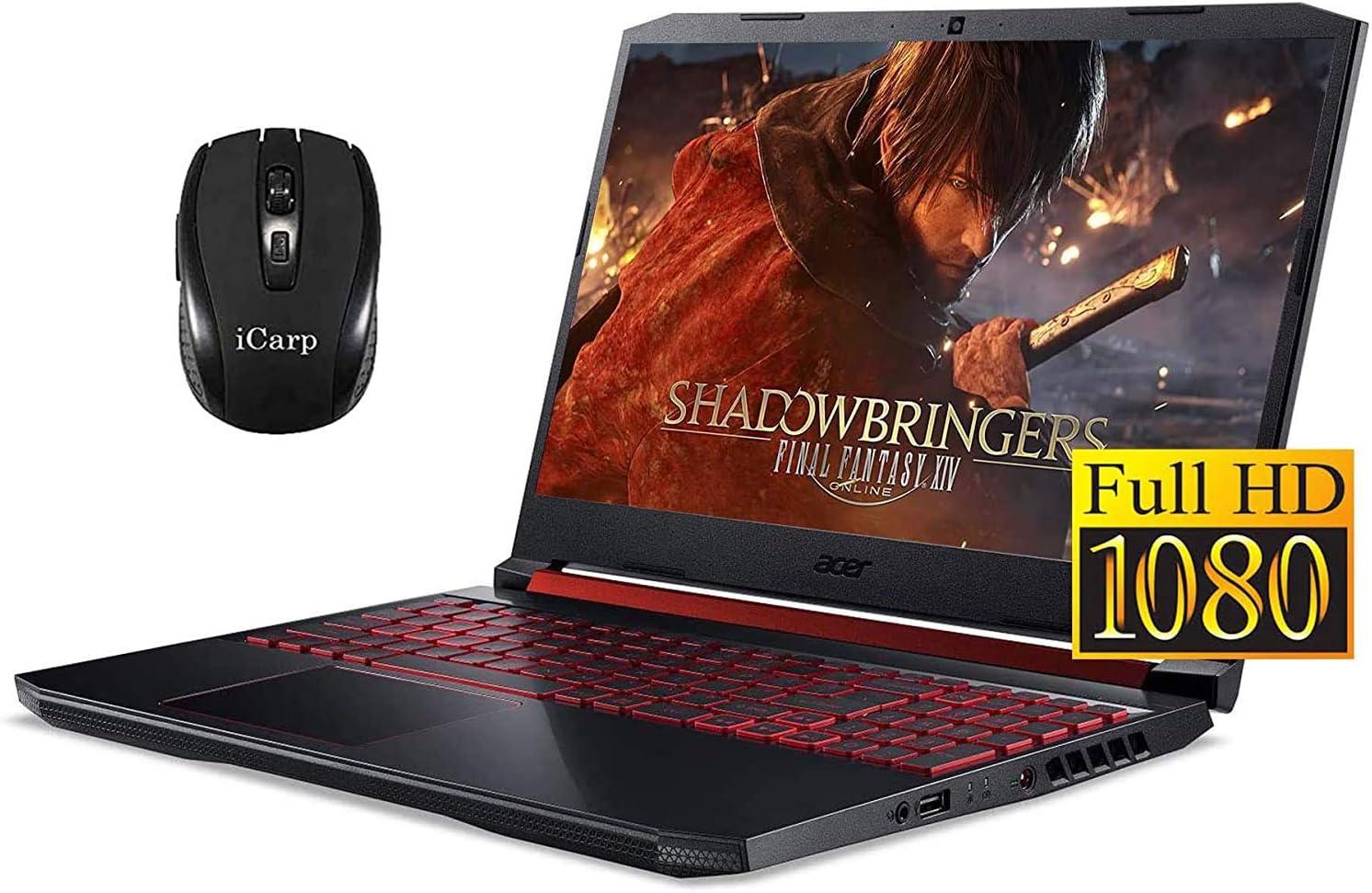 "2020 Premium Acer Nitro 5 15 Gaming Laptop 15.6"" Full HD IPS 9th Gen Intel 4-Core i5-9300H(Beats i7-7700HQ) 8GB DDR4 256GB PCIe SSD 1TB HDD 4GB GTX 1650 Backlit KB Win 10 + iCarp Wireless Mouse"