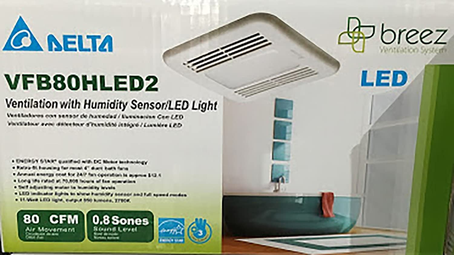 If your bathroom exhaust fan has become ear splitting over time it s - Amazon Com Delta Breez Vfb80hled2 Ventilation With Humidity Sensor Led Light Health Personal Care