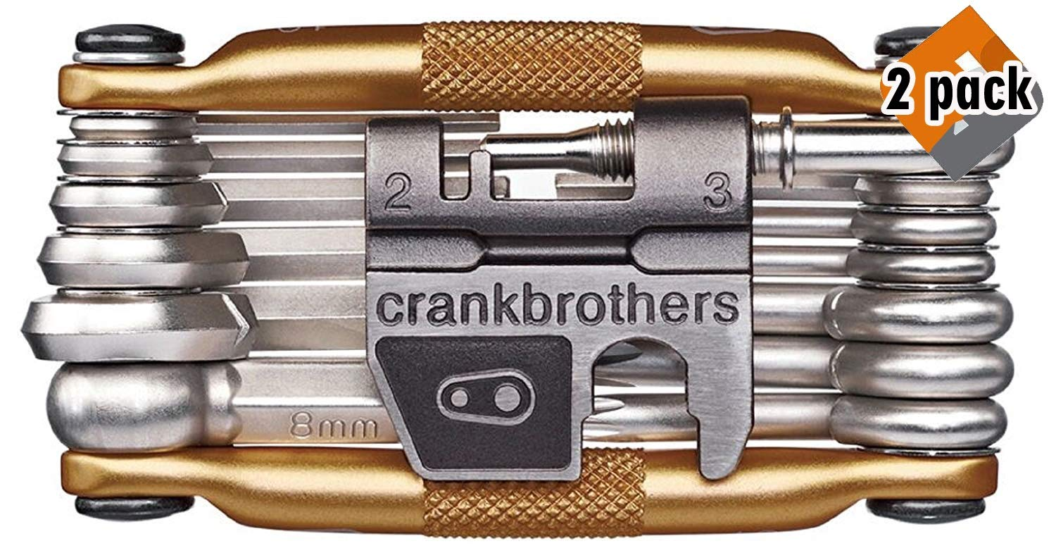 CRANKBROTHERs N2 M19 Bicycle Multi-Tool - Steel Bike Tool, Torx, Hex and Chain Tool Compatible, 2 Pack