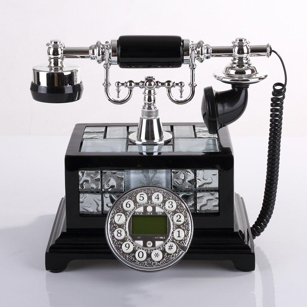 電話 ボタンダイヤルレトロ電話世帯有線固定電話ブラック発信者ID Rollsnownow   B078RJK73P