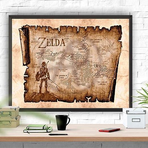 wangjingxi Leyenda De Zelda Mapa Rústico Impresión del Arte ...