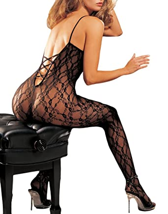 Shirley of Hollywood Number 90027 One Size Black Lace Open Front  Bodystocking with Criss-Cross Back  Amazon.co.uk  Health   Personal Care 4e296160e