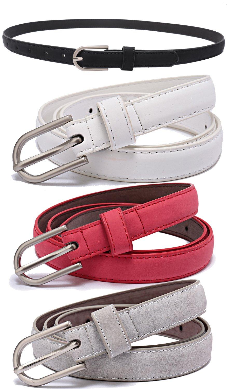 Set of 5 Women's Skinny Leather Belt Solid Color Waist or Hips Ornament 10 Sizes (30-32, Set of black white red grey belts 3/4'' wide)