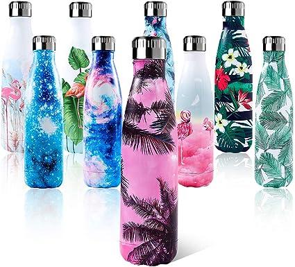 shinemefly bouteille d eau en acier inoxydable 500ml thermos sans bpa isole a double paroi gourde isotherme froides pendant 24heures chaudes pendant