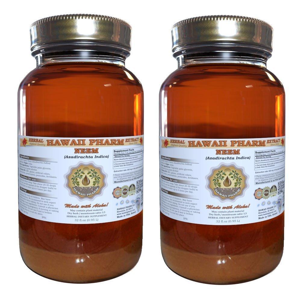 Neem Liquid Extract, Organic Neem (Azadirachta indica) Tincture Herbal Supplement, Hawaii Pharm, Made in USA, 2x32 fl.oz