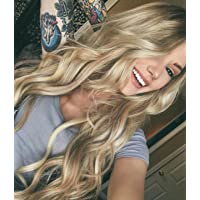 Zenith Dark Brown Rooted Light Blonde Lace Front Wigs for Women Best Synthetic Hair Wavy Wig with Flawless Hairline 24 inches Heat Safe