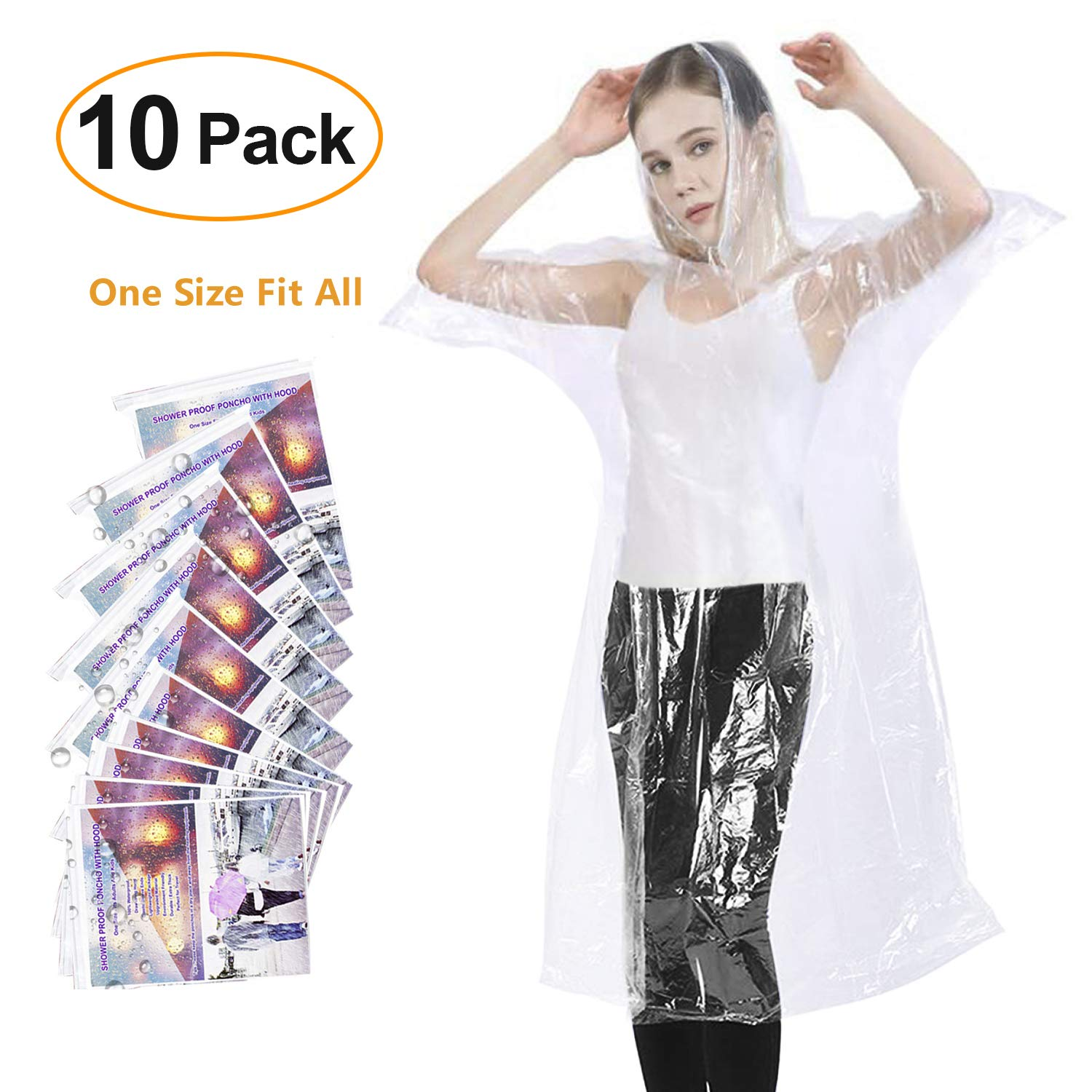 Rain Ponchos for Adults Disposable - Waterproof Lightweight (10 Pack) Rain Ponchos with Drawstring Hood 50% Thicker Material Emergency Rain Poncho Clear Color by Maigoo