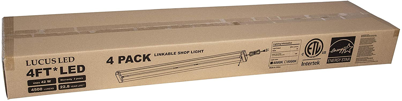 Linkable LEDショップまたはガレージ用ライト Linkable 4個セット 4000K ナチュラルホワイト 42W B07KBZFCYT 42W 4500ルーメン 取り付け金具付き 電源コード プルチェーン付き B07KBZFCYT, 上松町:62f7152e --- sharoshka.org