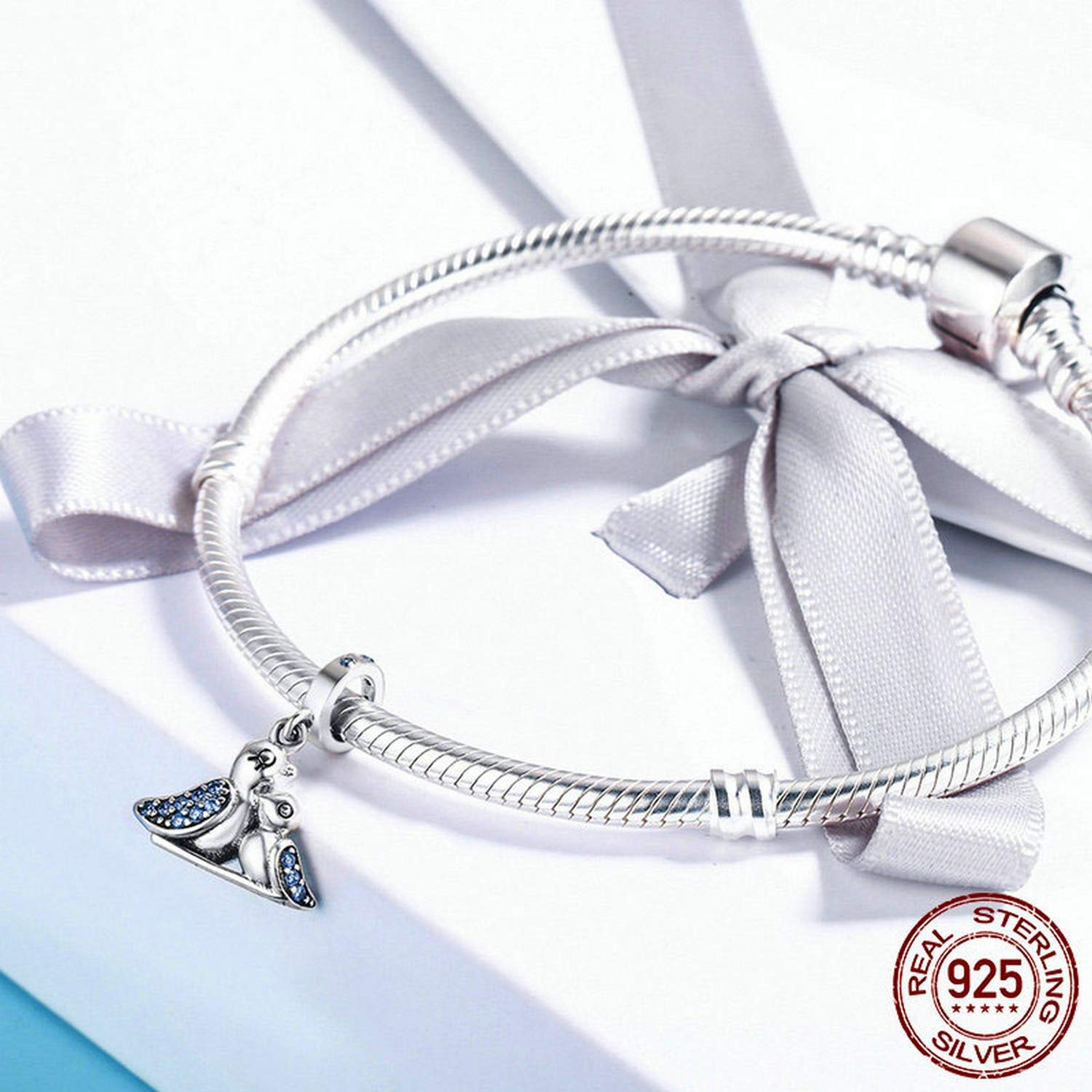 Evereena Silver Beads Bracelet for Girls Cute Bird Dependency Charm Womens Jewelry