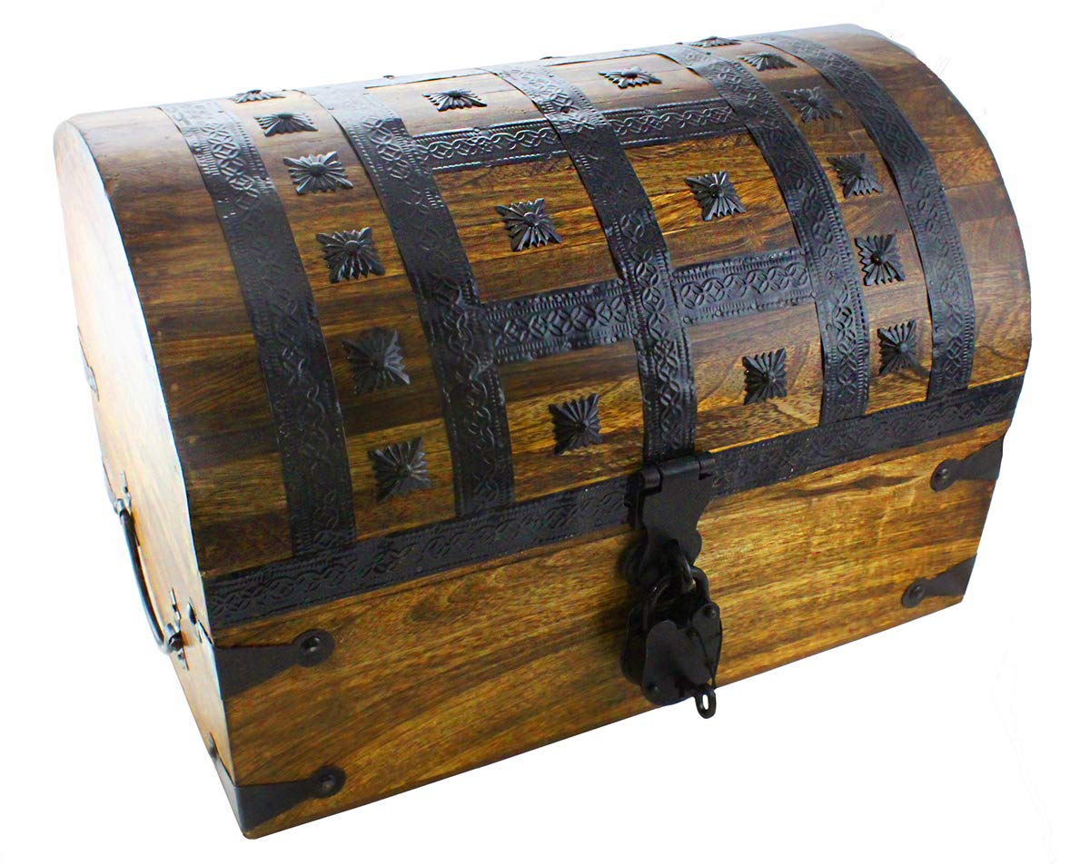 Well Pack Box Pirate Treasure Chest Box 16''x 11''x 11'' with Iron Accents - Lock and 2 Skeleton Keys (X-Large) by Well Pack Box