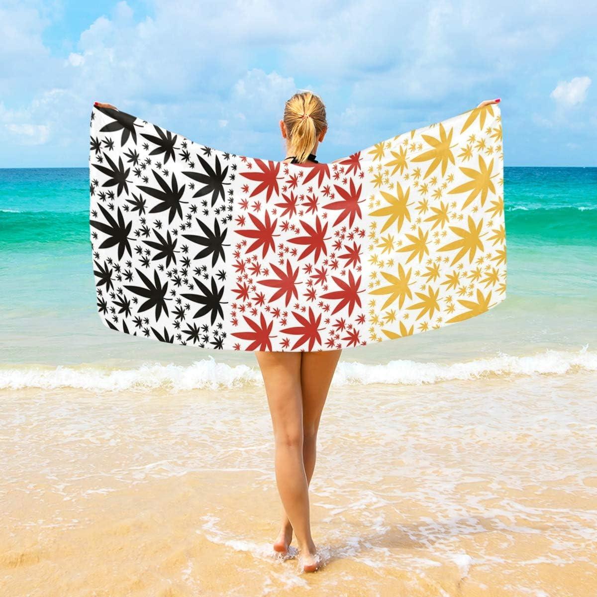 Ahomy Toalla de Playa de Microfibra con diseño de Hoja de Marihuana y Cannabis – Toalla de Viaje Ultra Absorbente de Secado rápido para Hombres, Mujeres y niños