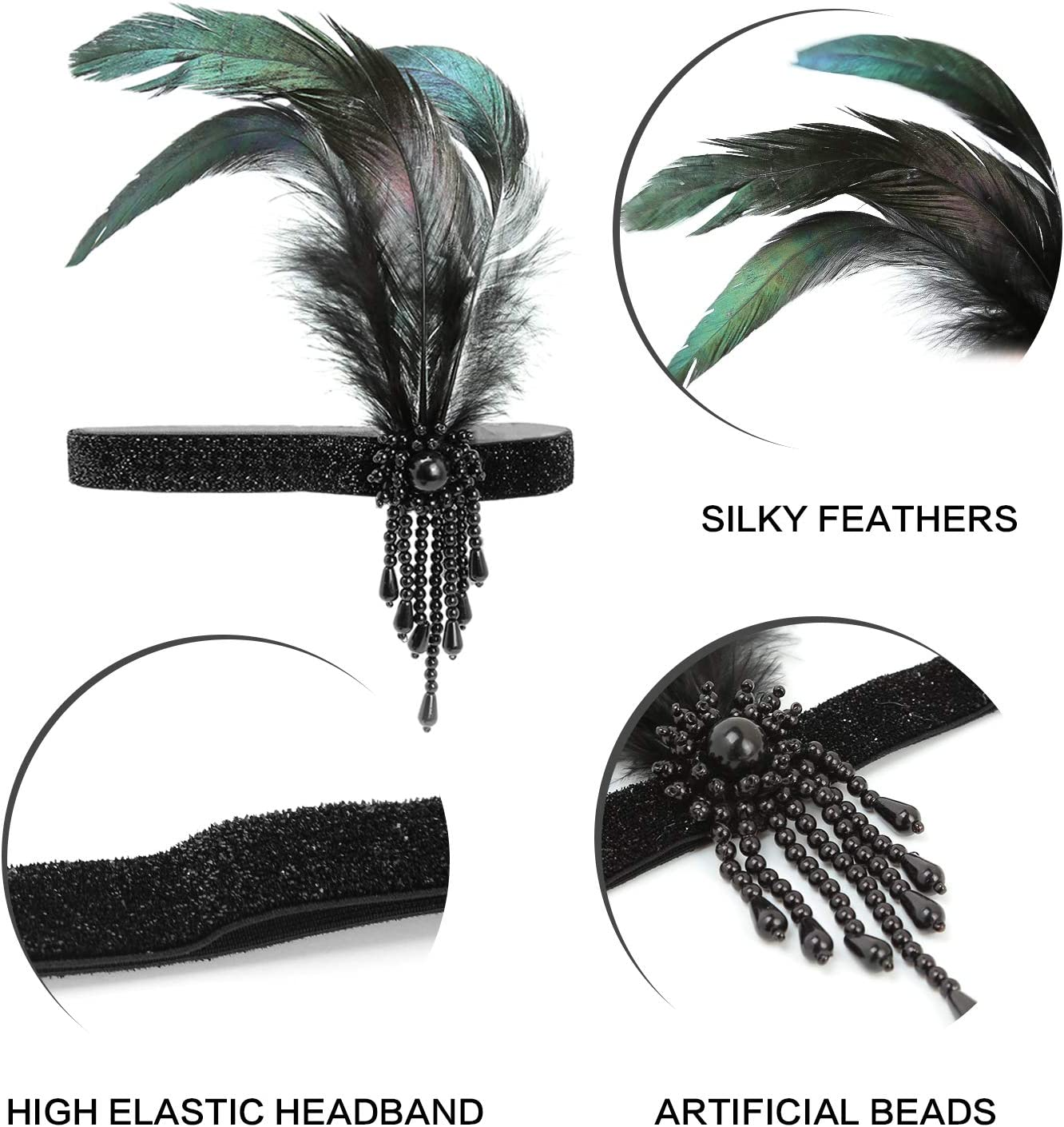 1920s Flapper Headband Canvalite Vintage 1920s Flapper Feather Headband Beaded Gatsby Headband