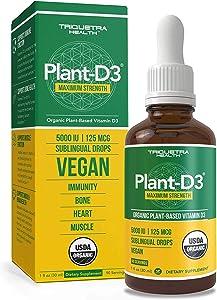 Plant-D3 Organic Vitamin D3 5000 IU - Vegan, Max Strength Sublingual Liquid D3 Drops - 200% Higher Absorption - 100% Plant-Based Cholecalciferol Form - Adjustable Dosing for All Ages (90 Servings)