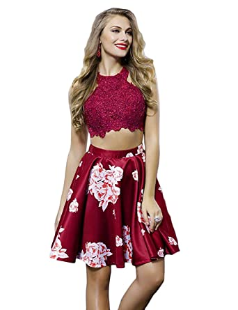 f61efa3c4002 Womens Floral 2 Piece Burgundy Homecoming Dress Short Lace Cocktail Dresses  Halter Size 0