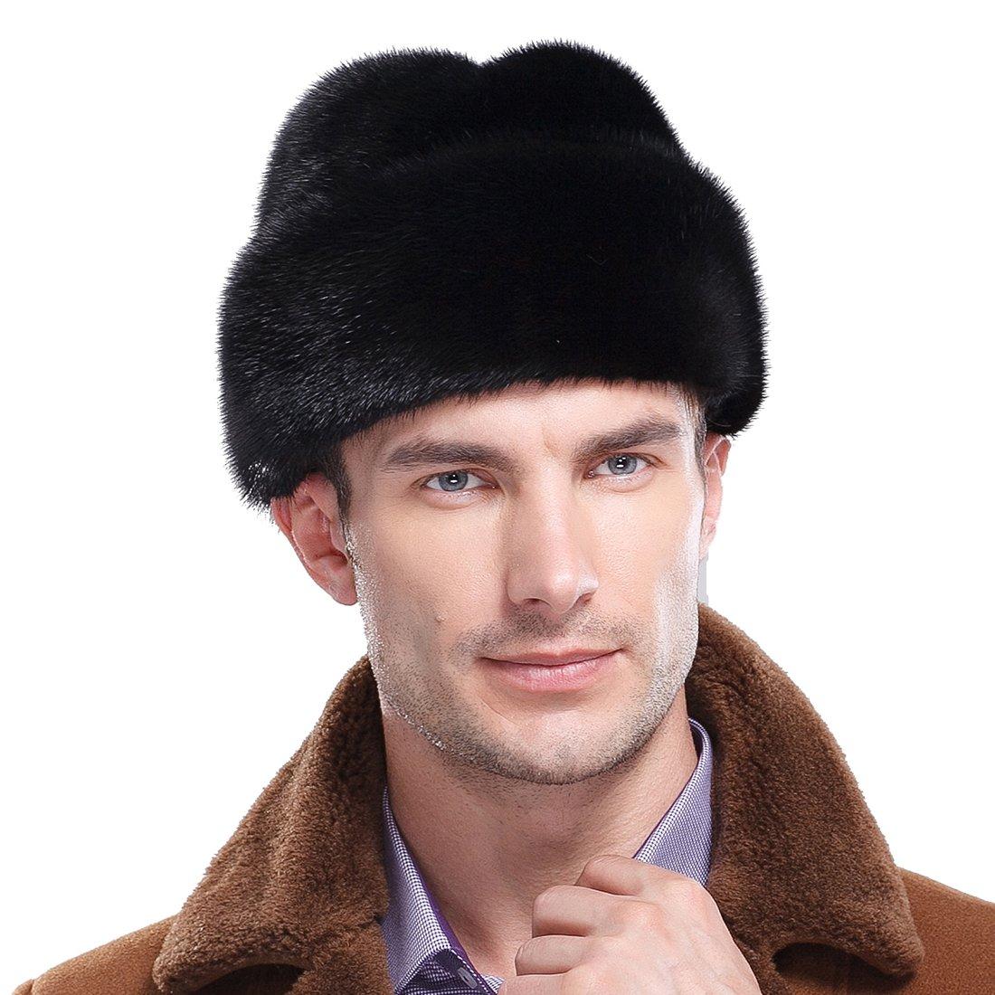URSFUR Mink Full Fur Russian Cossack Hat (One Size, Black) by URSFUR