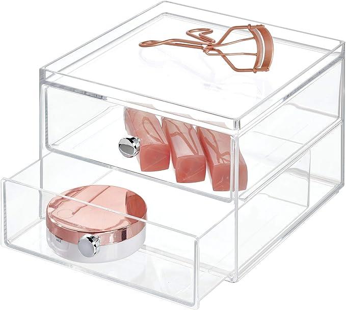 kompakter Schubladenturm f/ür Schminke und Kosmetika Make-Up Organizer mit 2 Schubladen quadratische Schubladenbox aus Kunststoff