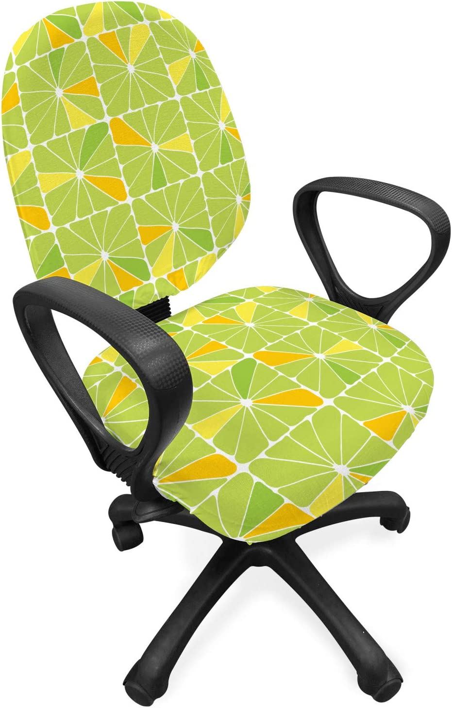 Lunarable Geometric Office Chair Slipcover, Vibrant Color Abstract Lime and Lemon Slices in Square Cells, Protective Stretch Decorative Fabric Cover, Standard Size, Apple Green