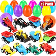"""Sizonjoy 12 Pack Filled Easter Eggs with Toy Cars,3.3"""" Filled Surprise Eggs for Easter Theme Party Favor,Eggs Hunt,Basket St"""