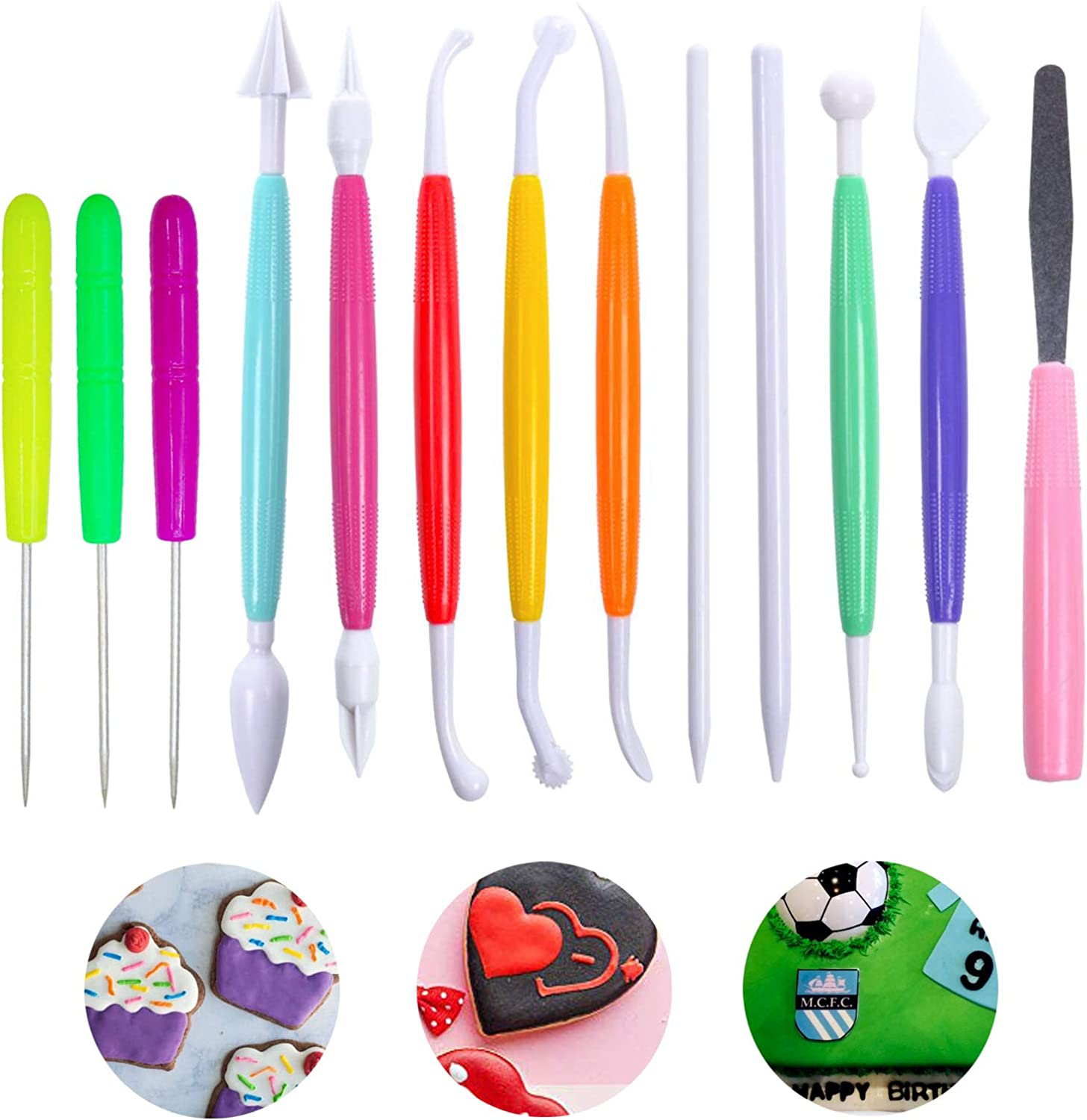 eKoi Pastry Cake Cookie Cupcake Clay Decorating Sculpting Modeling Pattern Scriber Pin Needle Cutter Pen Tools Kit Supplies for Baking Frosting Fondant SugarCraft Icing Paste DIY Art (15PC Set)