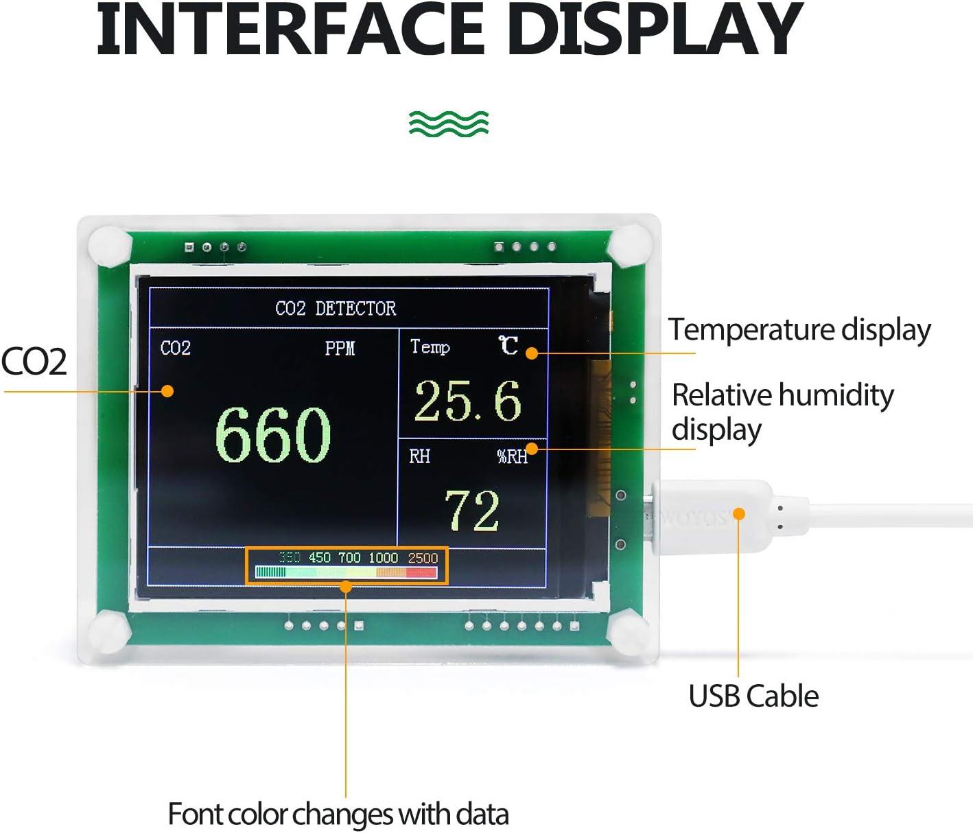 Kecheer Detector de co2//humedad//temperatura,Medidor aire dioxido carbono,Medidor de co2 en aire con term/ómetro higr/ómetro