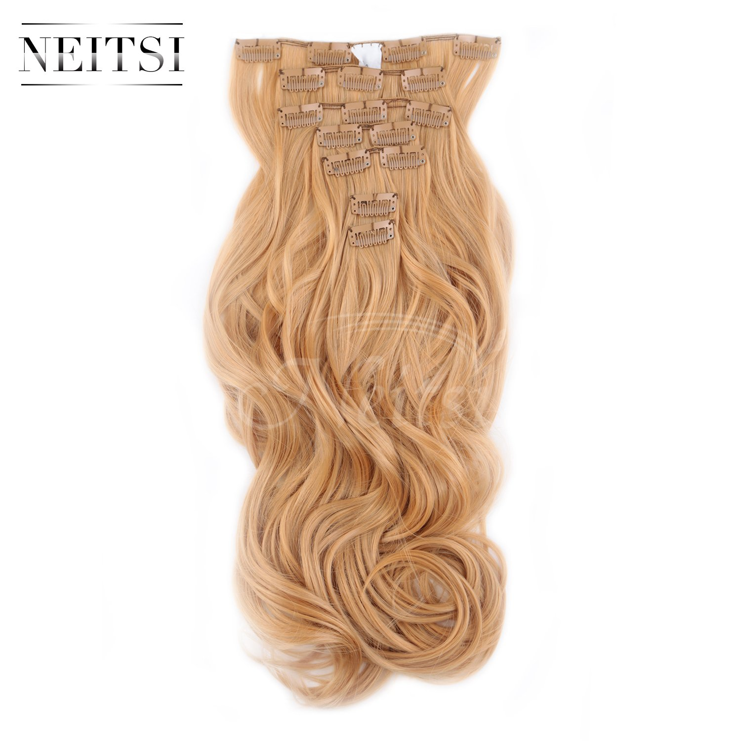 Neitsi 22 7pcs 140g Curly Wave Synthetic Clips in on Hair Extensions Full Head Set HairPieces 14Colors avaliable (P18/22#) LTD