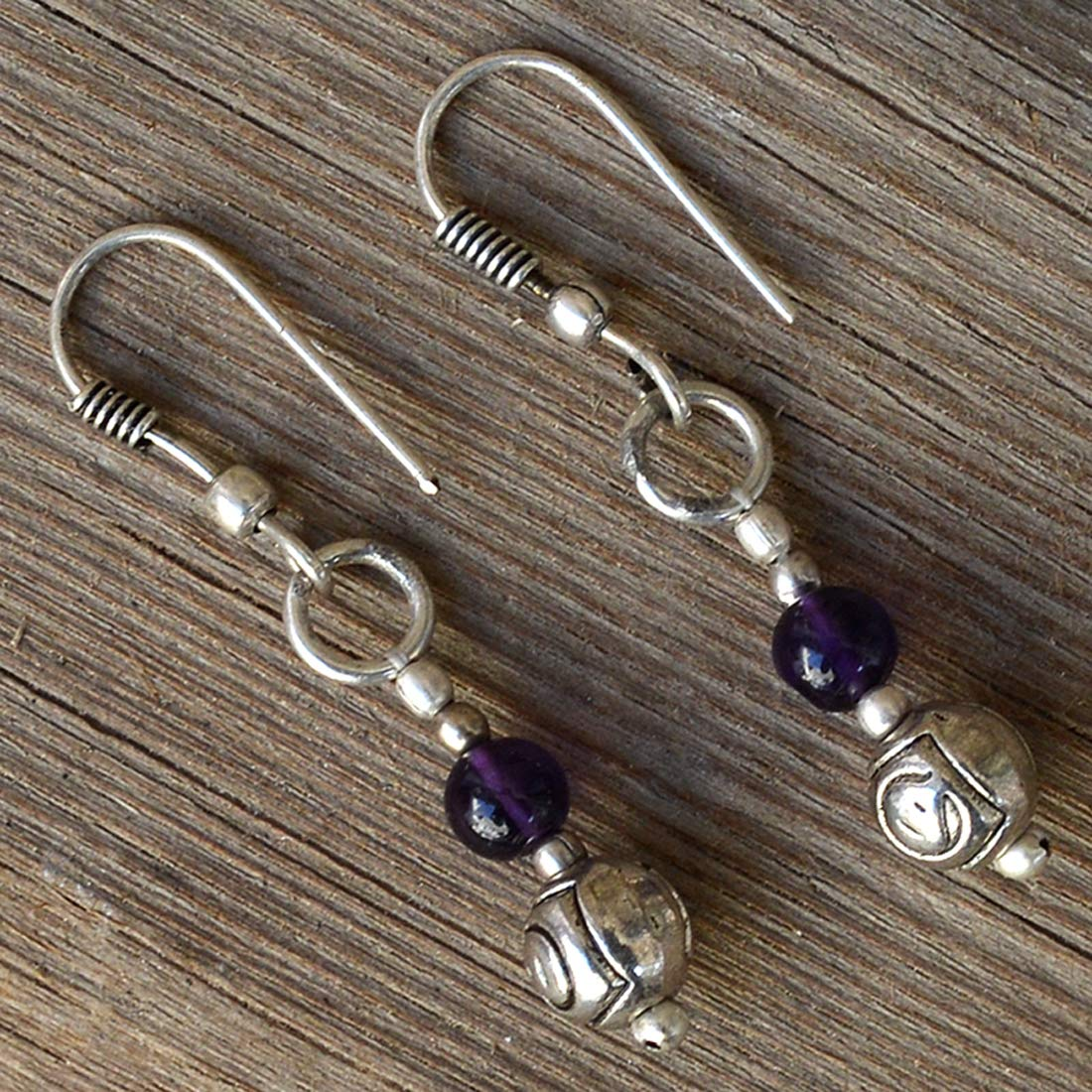 Saamarth Impex Amethyst 925 Silver Plated Dangle Earring PG-132000
