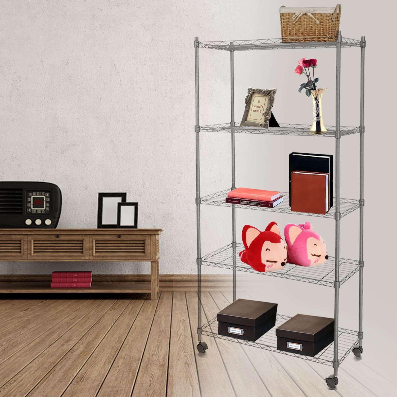Befied 5 Böden Metallregal Standregal Küchenregal mit 4 Rädern 74 x ...