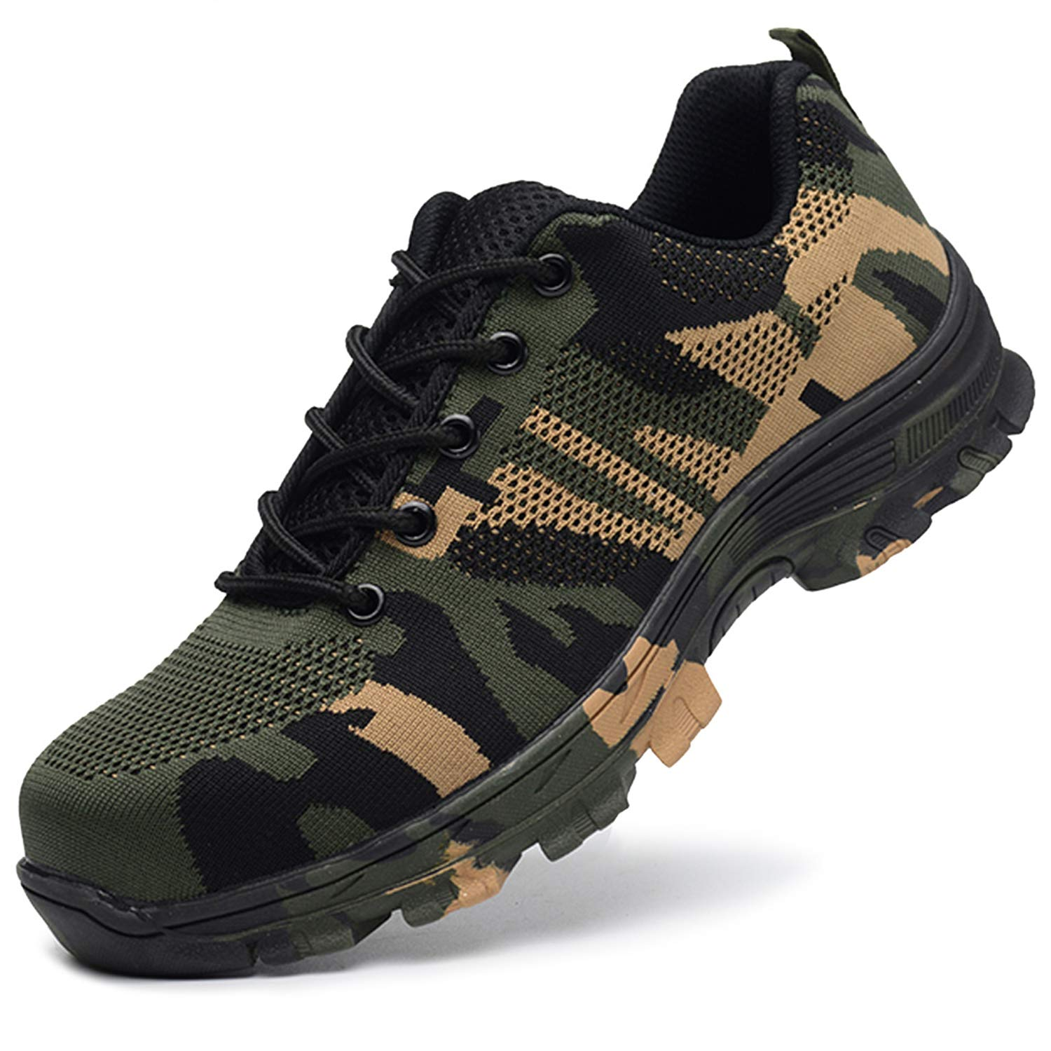 SUADEX Steel Toe Shoes Men, Womens Work Safety Shoes Industrial Construction Sneakers, Outdoor Hiking Trekking Trail Composite Shoes Camouflage Green Size 14.5 Women / 13 Men by SUADEX