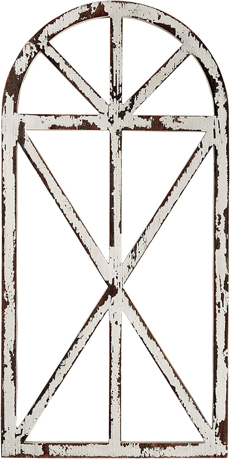 "Barnyard Designs Rustic Wood Window Frame Wall Decor, Decorative Wooden Cathedral Arch, Farmhouse Wall Art Home Decoration, Distressed White Finish, 31.5"" x 15.75"" x 1"""