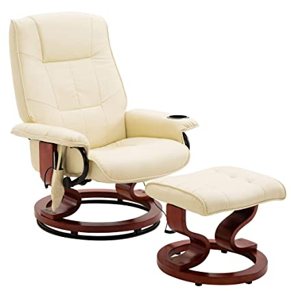 Phenomenal Windaze Massage Leather Recliner Ottoman Living Room Chair Set 8 Vibration Motors Heat With Swiveling Mahogany Wood Base And Cup Holder Beige Short Links Chair Design For Home Short Linksinfo