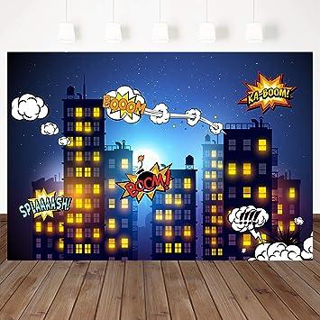 Mehofoto Superhéroe temática de Fondo Noche Escena ciyscape ...