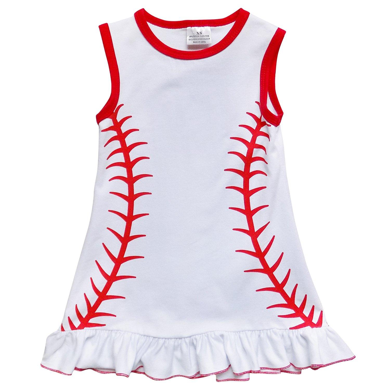 Amazon.com  So Sydney Girls Toddler Baseball Summer Dress 0aa2ecf188
