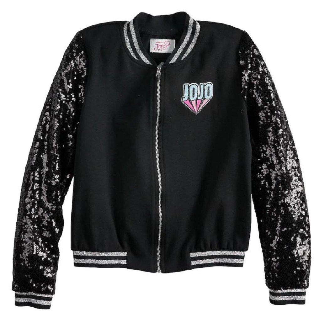 JoJo Siwa Jacket for Girls Lightweight Sequin Black Athletic Bomber Coat (X Small 6)
