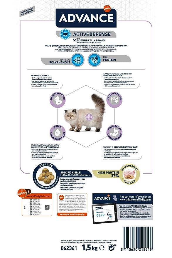 Advance Sterilized Hairball, comida para gatos esterilizados, para eliminar las bolas de pelo, 1.5Kg: Amazon.es: Productos para mascotas
