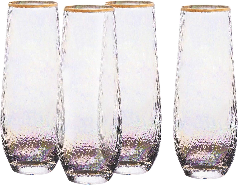 Elle Décor Celine Set of 4 Lead-free Stemless Champagne Flutes, 2.4x6.3, Gold