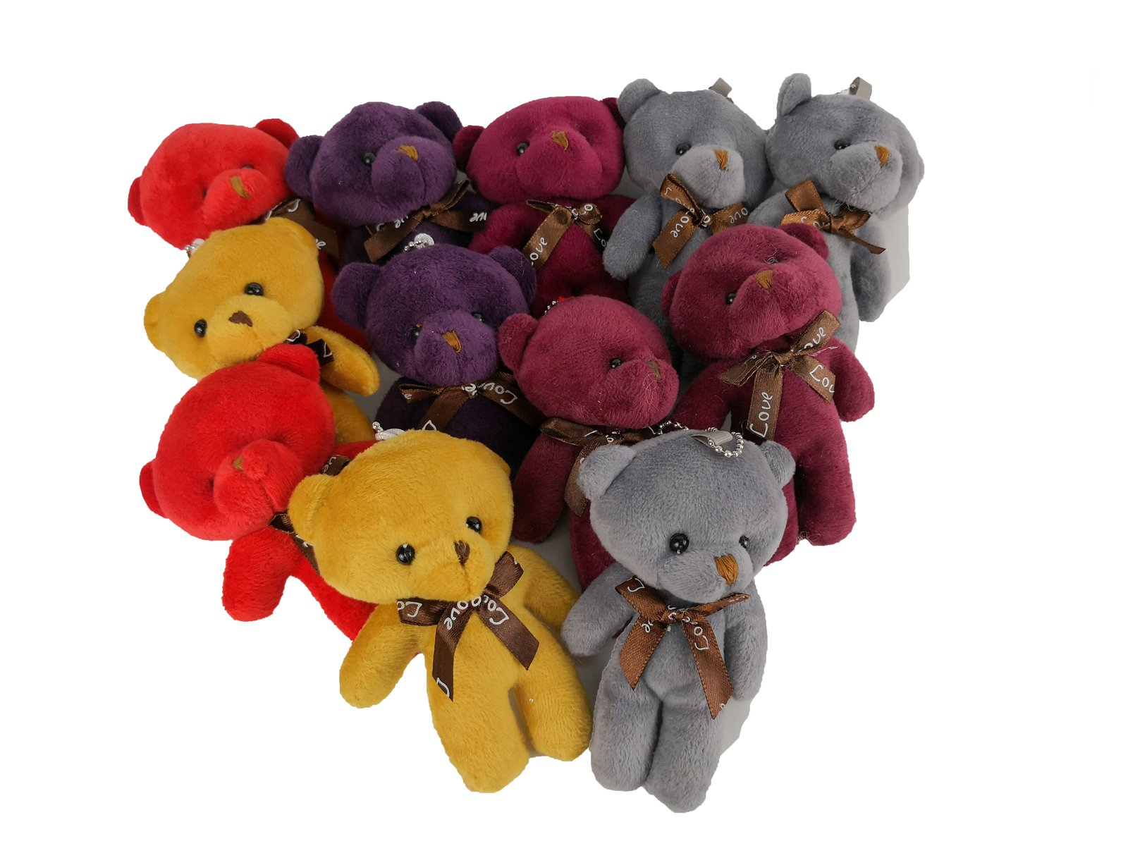 HAPTIME Plush Teddy Bears Stuffed Animals Soft Toy (1 Dozen) - Bulk, Assorted Colors by HAPTIME