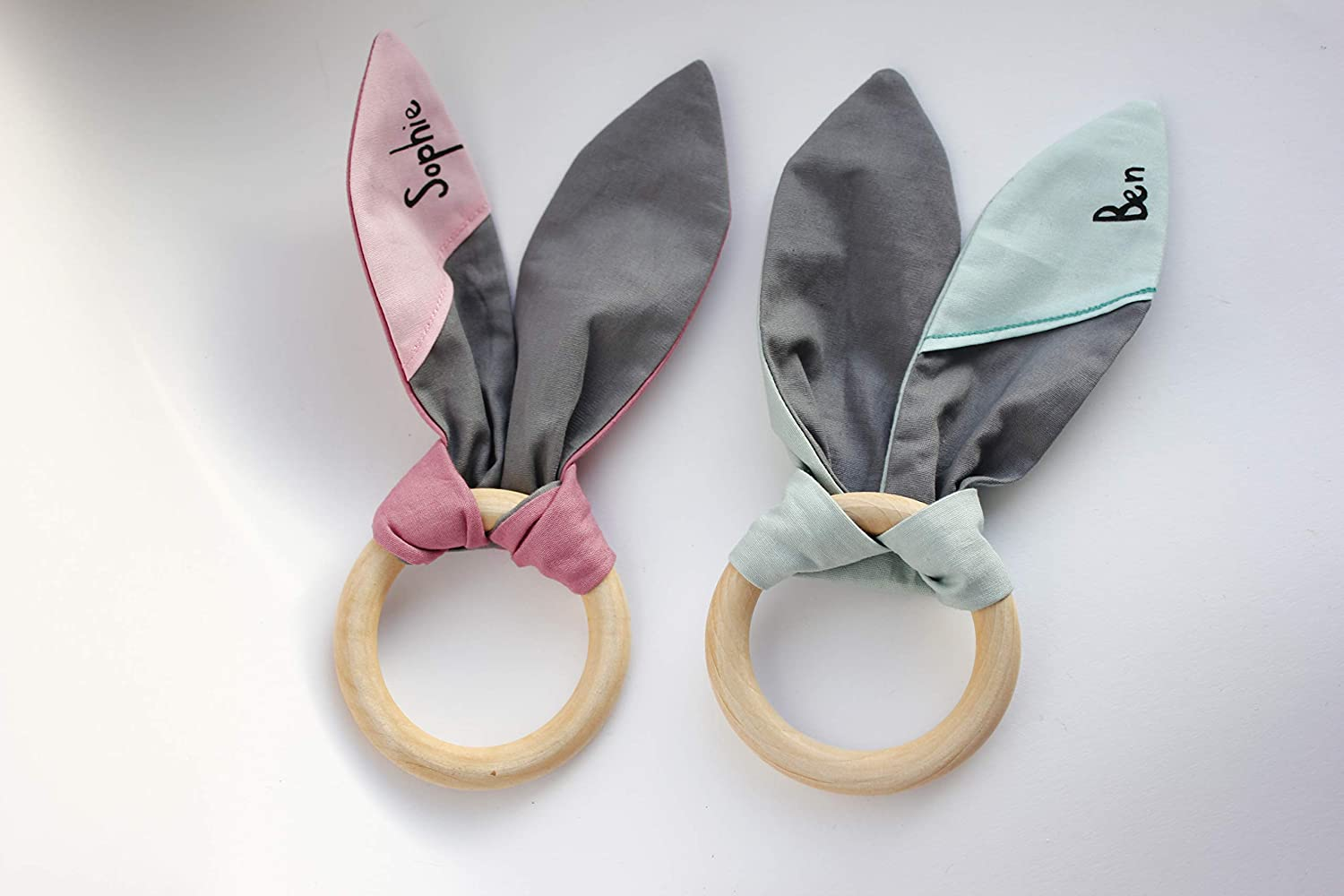 Rattle / Teething Bunny Ears, vegan, personalized, with name, wooden ring, pink, mint, german handcrafted