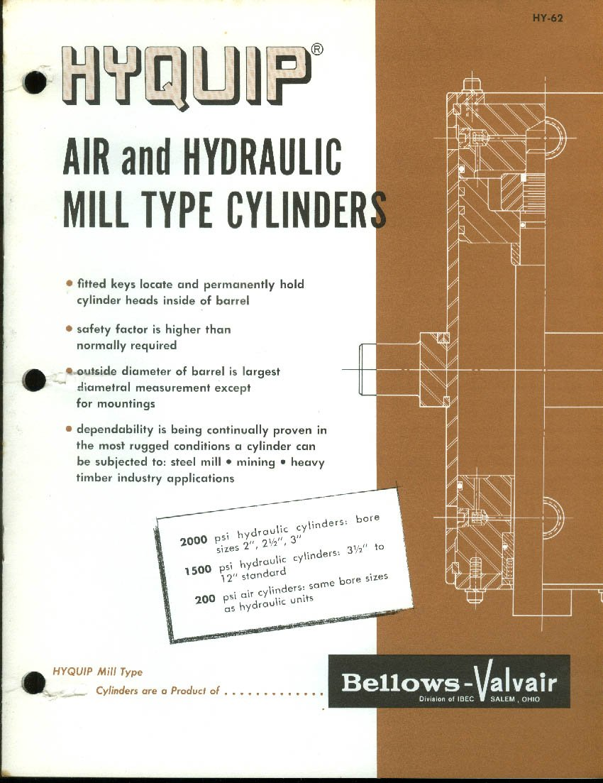 Air Cylinder Schematic Bellows Valvair Hyquip Hydraulic Mill Type Cylinders Catalog 1962 At Amazons Entertainment Collectibles Store