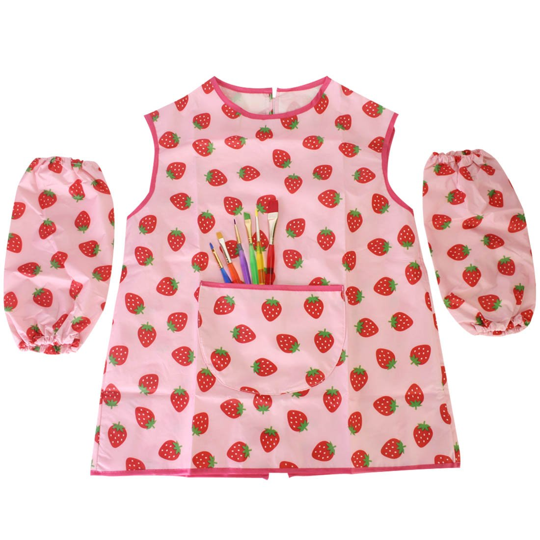 MyKazoe Toddler Artist Apron with Sleeves and 6-Piece Paint Brush Combo - Strawberry (Age 2-6)