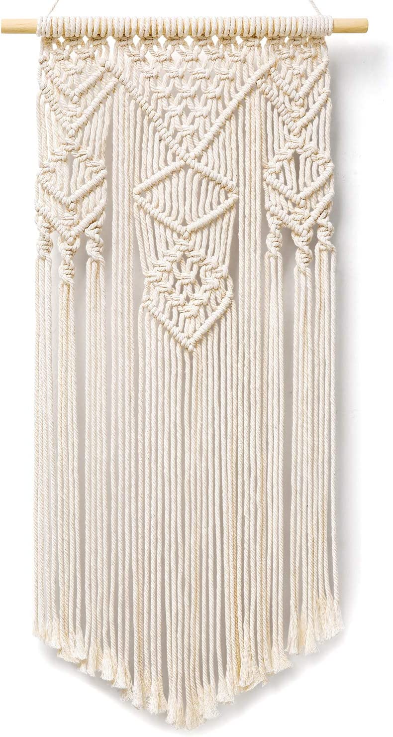 """Dahey Macrame Wall Hanging Woven Wall Art Macrame Tapestry Boho Chic Home Decor Unique Gift for Apartment Dorm Bedroom Living Room Nursery Gallery, Ivory (15"""" W × 31"""" L)"""
