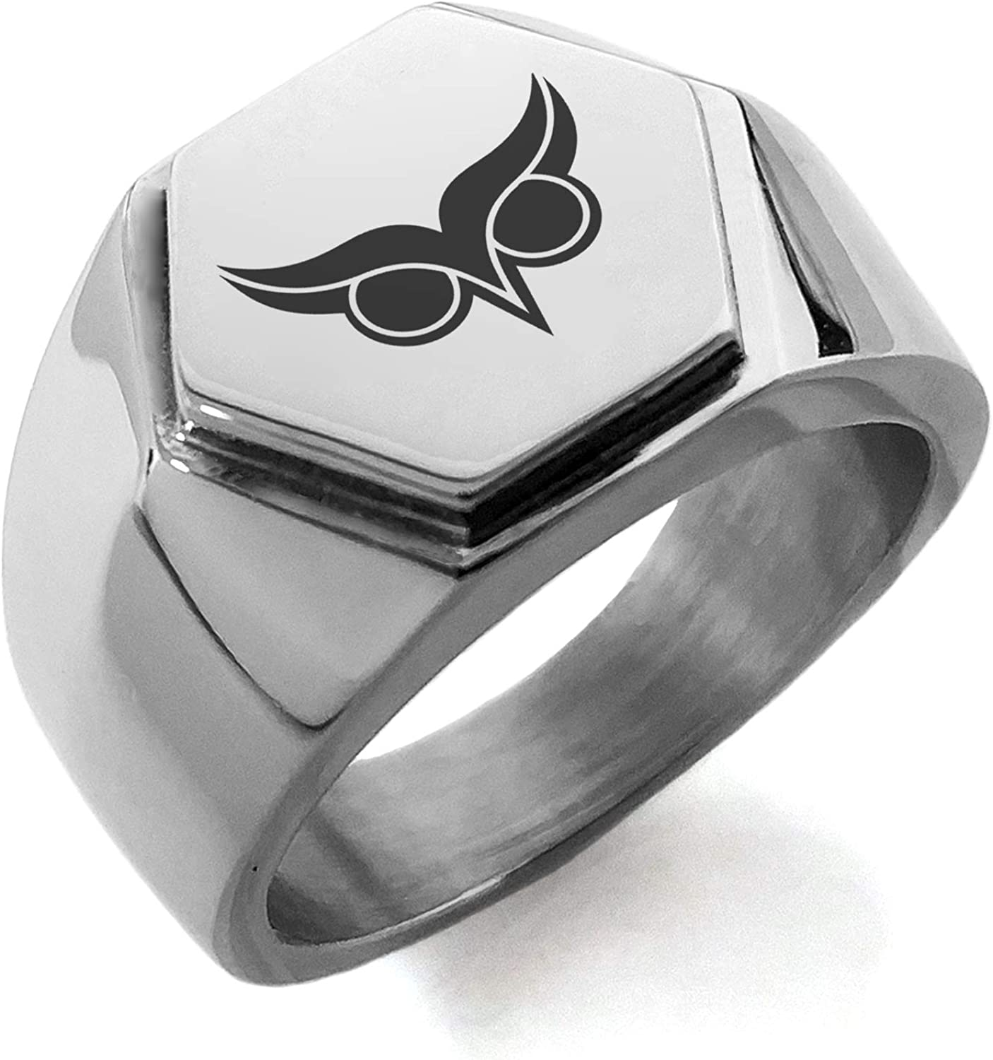 Stainless Steel Athena Greek Goddess of Wisdom Hexagon Crest Flat Top Biker Style Polished Ring