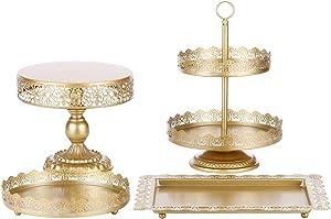 BOLATU Cake Stands Set,4 Pcs Metal Round Cake Stands Set Cupcake Stands Set Birthday Party Wedding Party Arternoon Tea Dessert Display Stands,Gold