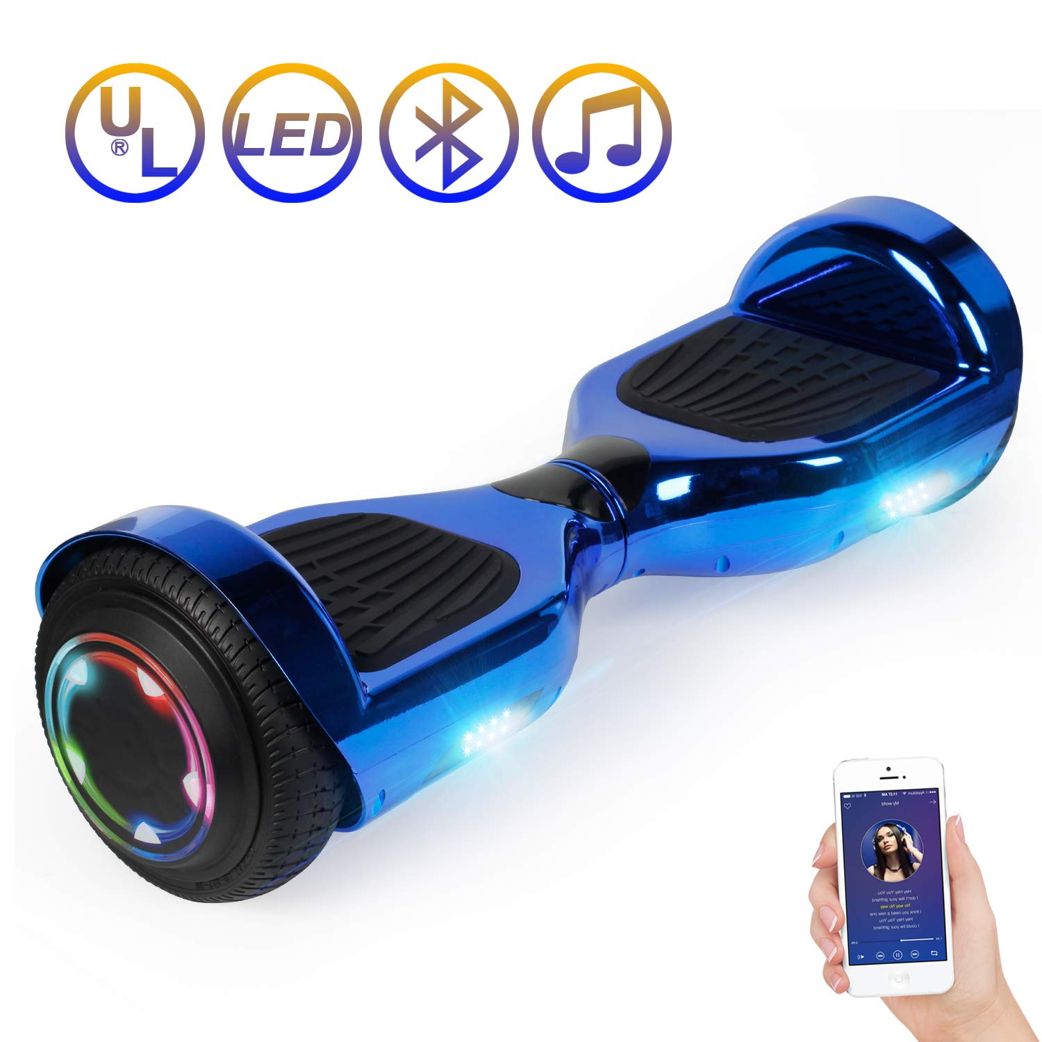 Hoverboard Self Balancing Scooter 6.5'' Two-Wheel Self Balancing Hoverboard with Bluetooth Speaker and LED Lights Electric Scooter for Adult Kids Gift UL 2272 Certified Plating Dazzle U Series - Blue by SISIGAD
