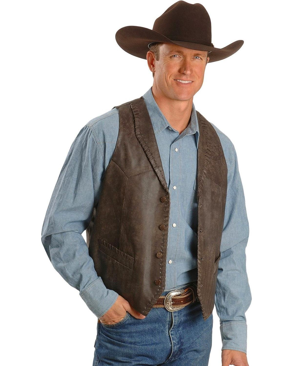 Scully Men's Whipstitch Lamb Leather Vest Brown Large